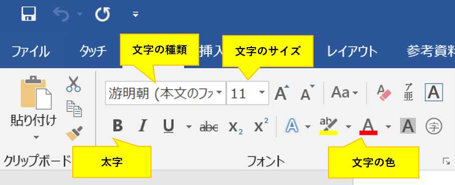 Wordでフォント