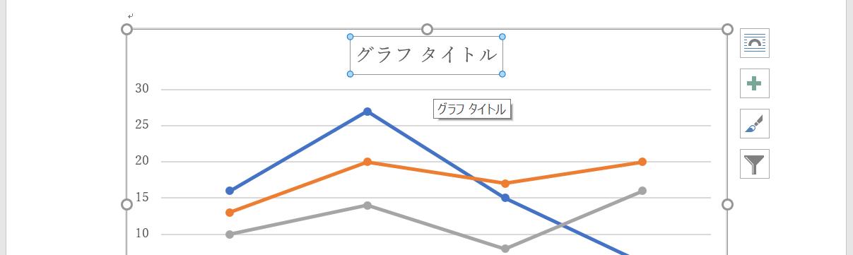 折れ線グラフのタイトルを選択する