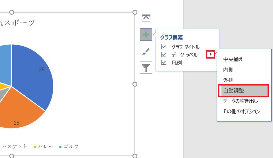データラベルの表示位置を選択