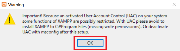 XAMPPインストール警告メッセージ