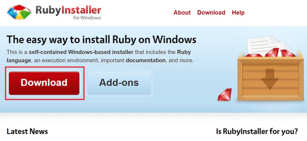 Rubyのインストーラーをダウンロードする