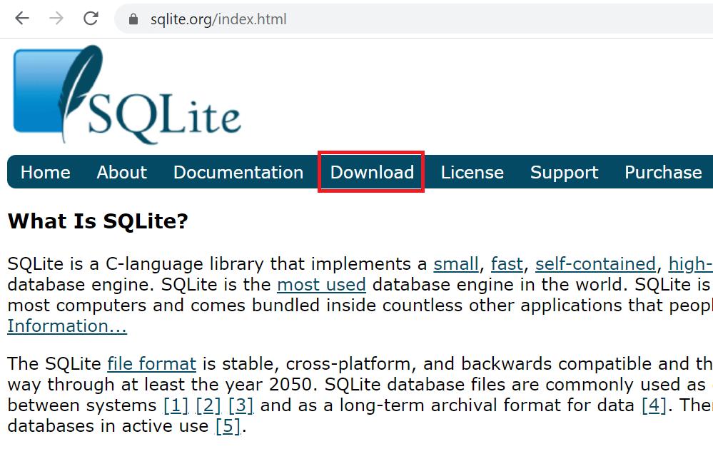 SQLiteのダウンロード