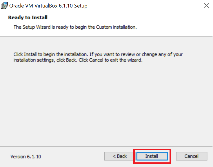 virtualboxインストール準備完了
